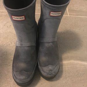 Hunter wedge boots navy
